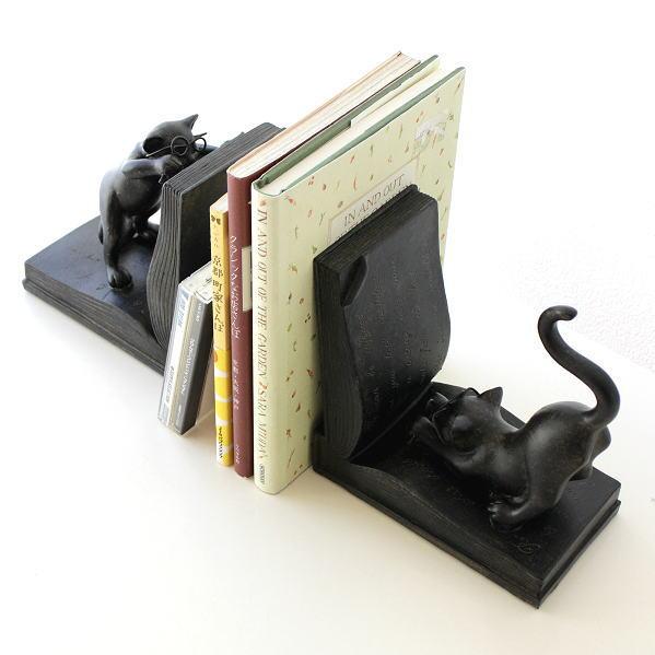 ブックエンド 本立て ブックスタンド おしゃれ 卓上 CDスタンド アンティーク レトロ インテリア 猫 ネコ ねこ 置物 雑貨 ネコのブックエンド [sik3630]