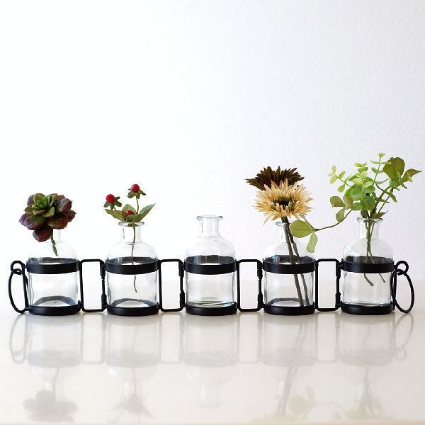 花瓶 ガラス フラワーベース おしゃれ ボトル 一輪挿し 枝もの アレンジ コネクト5フラスコベース [sik4145]