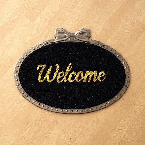玄関マット 屋外 おしゃれ かわいい 可愛い 楕円 Welcome ココヤシ コイヤーマット ラバーマット ドアマット エントランスマット ゴールドリボン [sik4175]