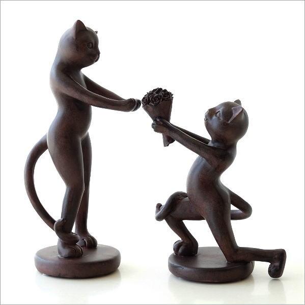 猫 置物 オブジェ ネコ かわいい おしゃれ インテリア 雑貨 キャットプロポーズペア [sik4406]