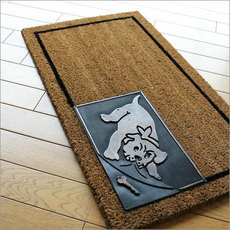 玄関マット 屋外 外用 コイヤーマット 天然素材 犬(イヌ) おしゃれ ラバーマット ゴム ドアマット 70×40cm エントランスマット ドッグ