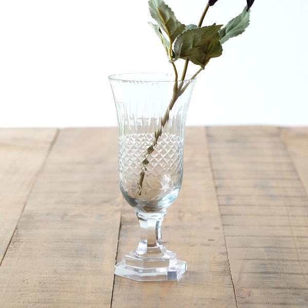花瓶 おしゃれ ガラス フラワーベース 花器 ガラスベース プレゼント ブーケ オブジェ 脚付き エッチンググラスベース S [sik4832]