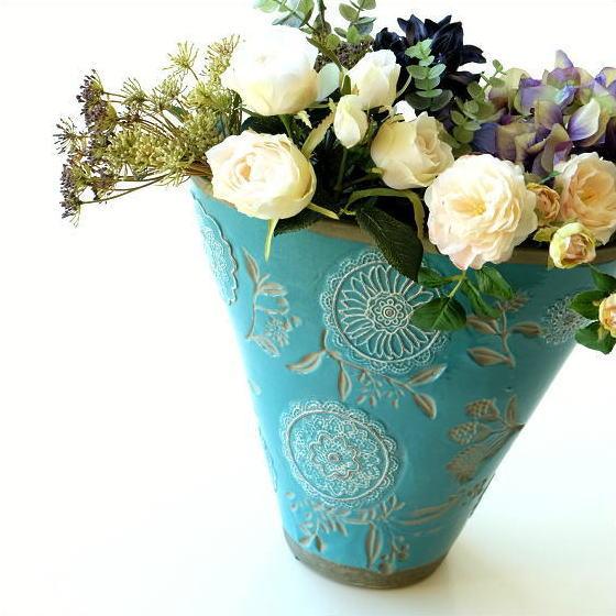 花瓶 フラワーベース 陶器 花器 おしゃれ 口が広い 大きな 大きい レトロ アンティーク デザイン 花入れ クラシックなベース ラグーンブルー