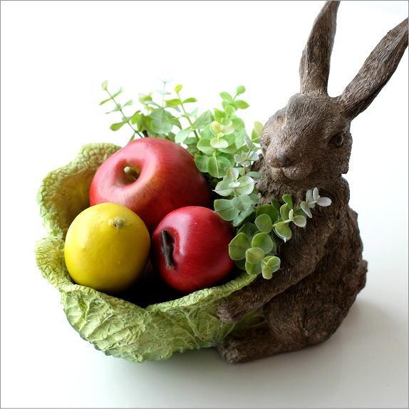 うさぎ 置物 雑貨 小物入れ おしゃれ プランターカバー 鉢植え ウサギ かわいい かご カゴ インテリア オブジェ 兎 キャベツコンテナのラビット