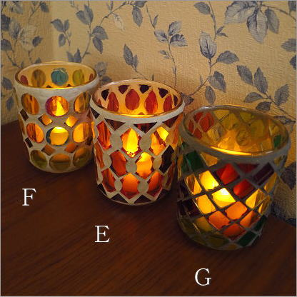 キャンドルホルダー ガラス モザイクガラスのキャンドルカップ [sik5424]