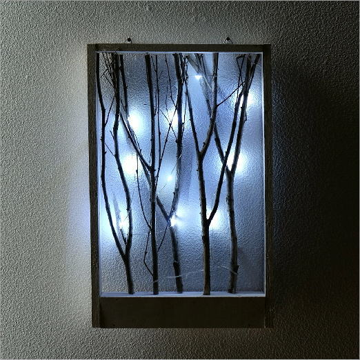 壁飾り ブランチ 小枝 木 LED 電飾 ナチュラル おしゃれ インテリア 壁掛け アートフレーム LED付き小枝のフレーム ホワイト