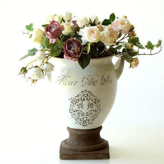 フラワーベース 陶器 花瓶 フレンチ ナチュラル おしゃれ 北欧 レトロ かわいい 花器 ベース 焼き物 花束 造花 白 洋風 デザイン 陶器のベース フルール