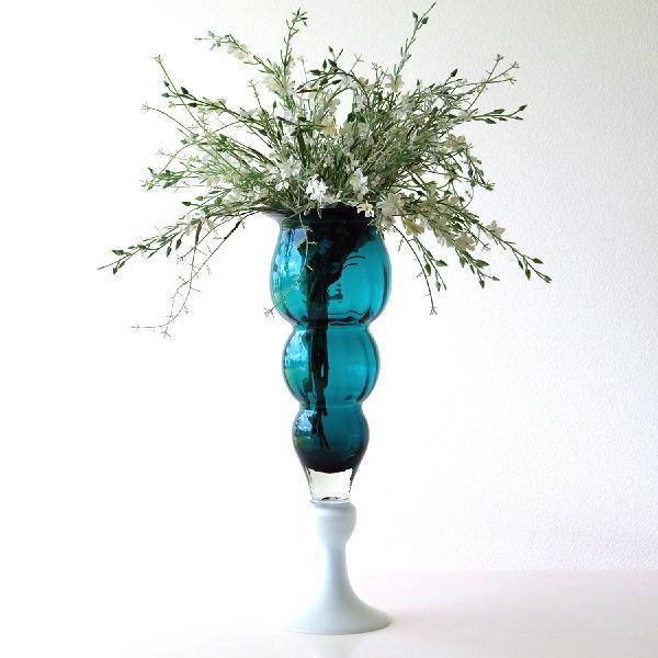 フラワーベース ガラス 花瓶 おしゃれ モダン 大きい ガラスのトールベース C [sik5795]