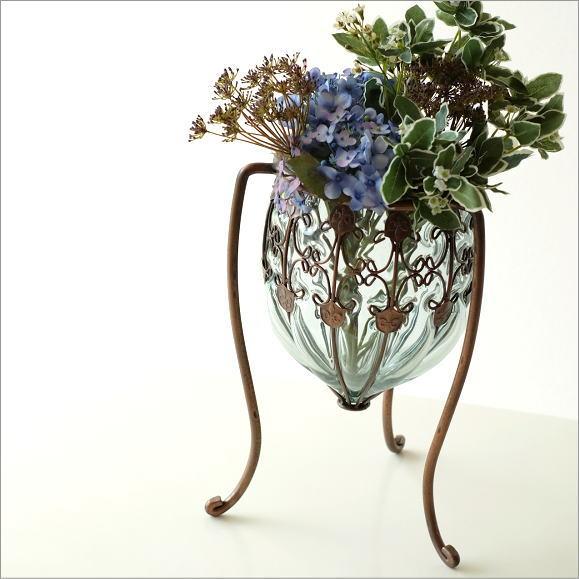 花瓶 フラワーベース ガラス おしゃれ 花器 メタルグラスベース レッグホールド【送料無料】