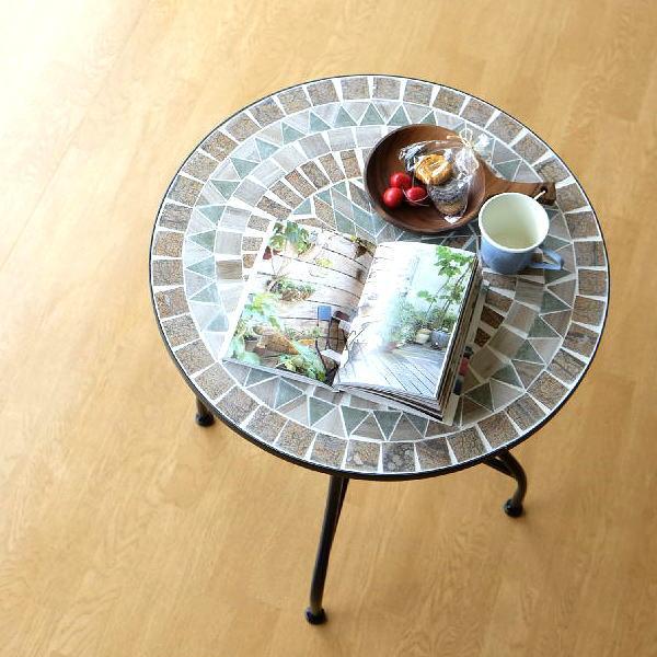 ガーデンテーブル タイル おしゃれ かわいい アイアン 円形 丸型 モザイクガーデンテーブル オリーブスター 【送料無料】 [sik6050]