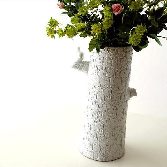 フラワーベース 陶器 花器 花瓶 白 ホワイト ロング デザイン 模様 おしゃれ 鳥 花入れ 傘立て 陶器のトールベース とまり木