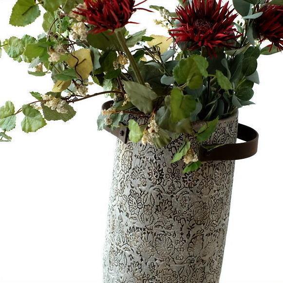 フラワーベース 陶器 花器 花瓶 ロング デザイン 模様 おしゃれ 花入れ 和風 洋風 傘立て 陶器のトールベース SARA