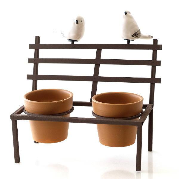 鉢カバー フラワーポット 陶器 小さい ミニ おしゃれ かわいい 多肉植物 サボテン 小物入れ インテリア 鳥 雑貨 小物収納 花台 2ポットonバードベンチ BR [sik6660]