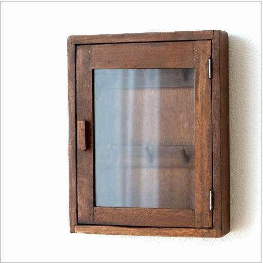 キーボックス 壁掛け 木製 インテリア おしゃれ レトロ アンティーク 鍵掛け 鍵かけ キーフック アクセサリーフック ガラス扉 ウッド壁掛ミニキーケース