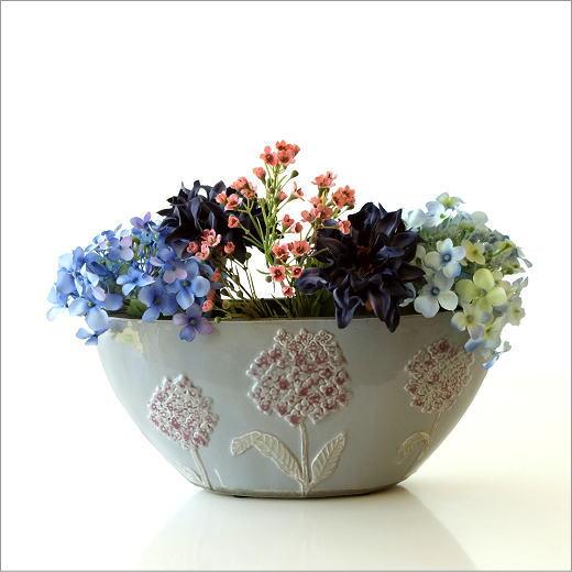 フラワーベース 陶器 口が広い 花瓶 おしゃれ アジサイ フラワー 花 モダン 北欧 レトロ アンティーク かわいい 花器 陶器のベース フローラルボートベース