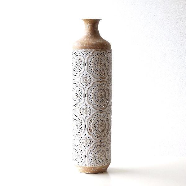 花瓶 フラワーベース おしゃれ 円柱 円筒 レトロ アンティーク 花器 スチール透かし彫りビッグベース [sik6838]