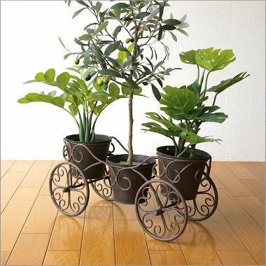 鉢カバー フラワースタンド プランタースタンド おしゃれ アンティーク 花台 鉢 花 フラワーポット ガーデニング ガーデンポット アイアンの3プランターカート