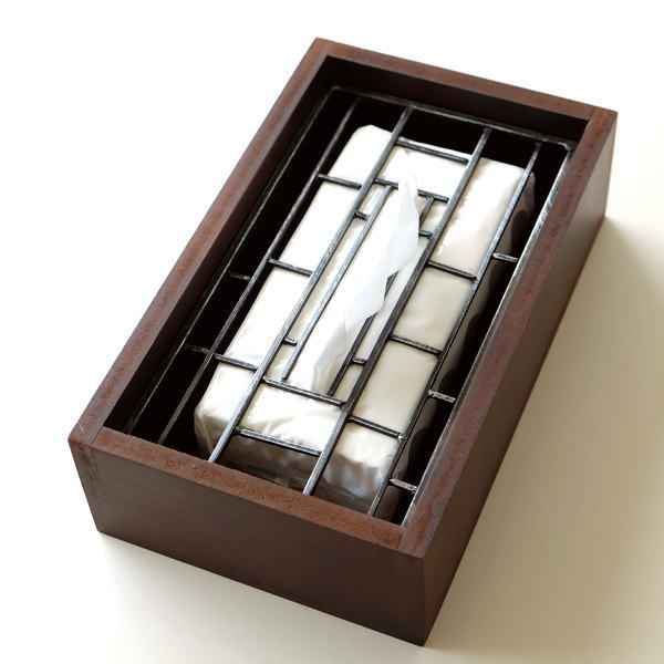 ティッシュケース おしゃれ 木製 アイアン ティッシュボックスケース 蓋付き アンティーク アイアンとウッドのティッシュボックス ラティス [sik7431]