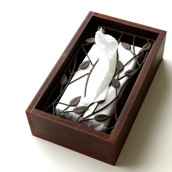 ティッシュケース おしゃれ 木製 アイアン ティッシュボックスケース 蓋付き アンティーク アイアンとウッドのティッシュボックス ツィッグ [sik7453]