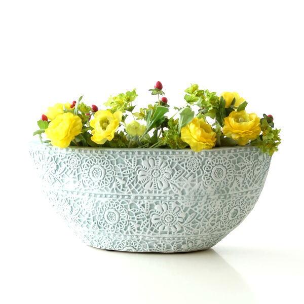 花瓶 フラワーベース おしゃれ 陶器 テラコッタ 花器 口が広い 横長 レース模様 かわいい 可愛い 陶器のボートベースA [sik7468]
