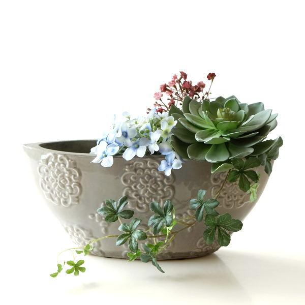 花瓶 フラワーベース おしゃれ 陶器 テラコッタ 花器 口が広い 横長 レース模様 かわいい 可愛い 陶器のボートベースB [sik7469]