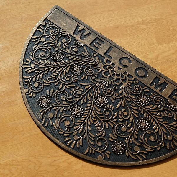 玄関マット 屋外 おしゃれ welcome ウェルカム ラバーマット 半円 玄関マット プランツ [sik7498]