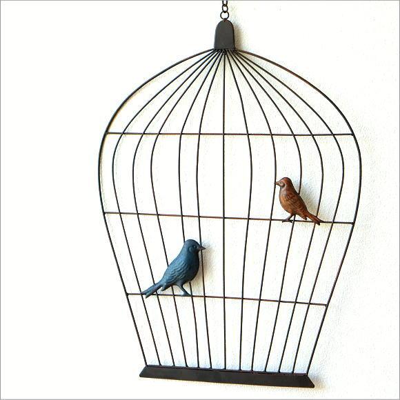 壁飾り アイアン アートパネル 鳥かご 吊り下げ 鳥 雑貨 ウォールデコ 壁掛け インテリア おしゃれ モダン かわいい カフェ アイアンの壁飾り バルーンゲージ