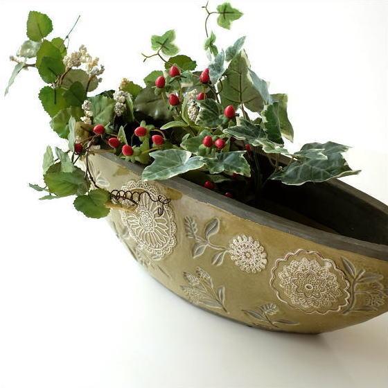 花瓶 おしゃれ 口が広い デザイン フラワーベース 花器 陶器のベース ボルCG