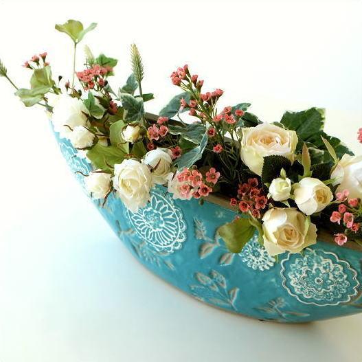 花瓶 おしゃれ 口が広い デザイン フラワーベース 花器 陶器のベース ボルLB