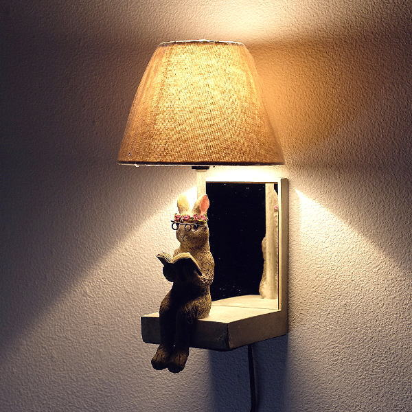 照明 壁掛け ライト シェードランプ 雑貨 野うさぎ壁掛ランプ [sik8096]
