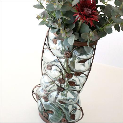 花瓶 ガラス おしゃれ フラワーベース 花器 メタルグラスベース フラワーコネクション【送料無料】
