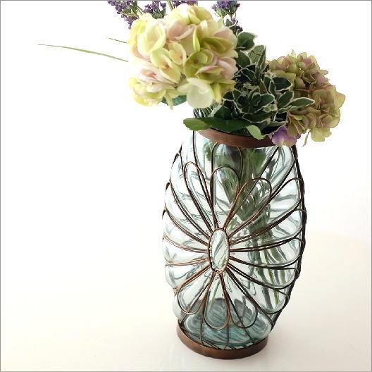 フラワーベース ガラス アイアン 花瓶 おしゃれ 花器 メタルグラスベース ペタル【送料無料】