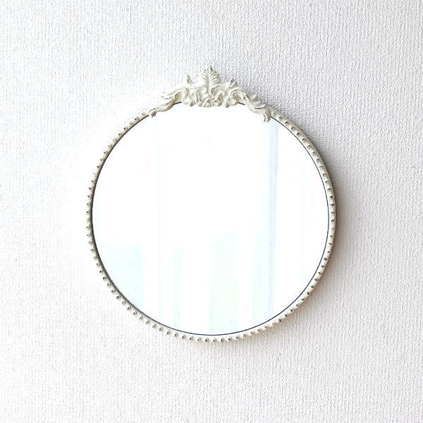 鏡 壁掛けミラー おしゃれ ウォールミラー かわいい ラウンドミラー アンティーク メタルのシャビーホワイトラウンドミラー [sik8327]