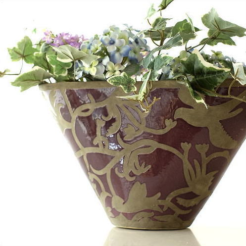 花瓶 おしゃれ 陶器 口が広い フラワーベース 花器 陶器のベース オーキッドバード