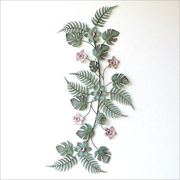 アイアンの壁飾り ファーン&フラワーロング [sik8569]