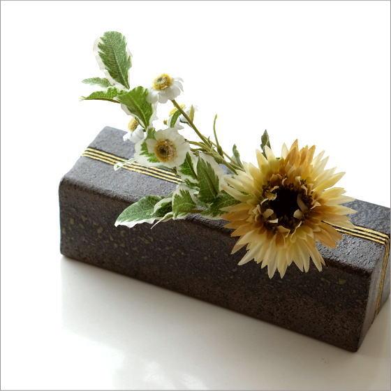 花器 陶器 花瓶 一輪挿し 和風 フラワーベース 花入れ 花挿し おしゃれ 和 モダン 卓上 デザイン ボックス 四角 日本製 焼き物 信楽焼 金彩BOXベース