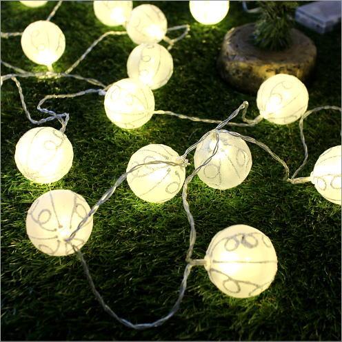 ガーランドライト 照明飾り ナチュラル ルームライト デコレーションライト LEDボールランプ ホワイトビーズ