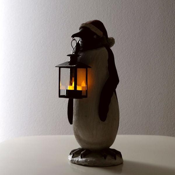 LED付きランタンペンギンのオブジェ [spc0359]