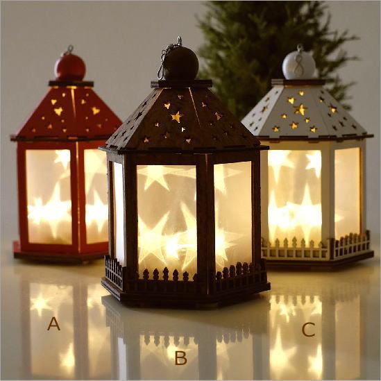 クリスマス 吊り下げ 飾り ライト ノルディックウッドスターランタン 3カラー