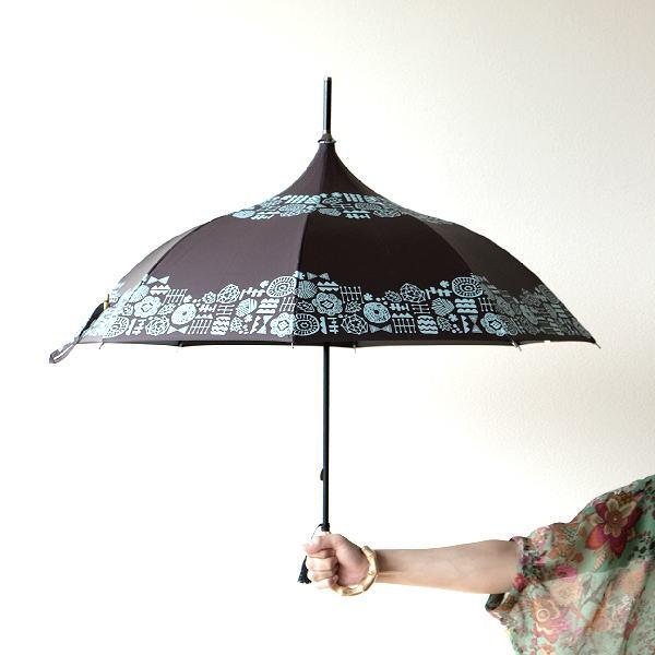 晴雨兼用傘 長傘 日傘 パゴダ傘 UVカット 黒 遮光 遮熱 竹 バンブー ハンドル 持ち手 女性 レディース 晴雨兼用アンブレラ パゴダA [spc0483]