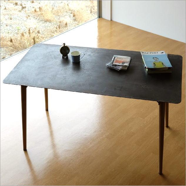 テーブル デスク 机 鉄製 木製 アンティーク 作業台 作業机 センターテーブル ディスプレイテーブル おしゃれ シャビーなアイアンとウッドのテーブル 140【送料無料】