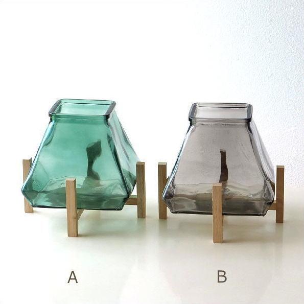 フラワーベース 花瓶 ガラス おしゃれ モダン 北欧 インテリア 花器 ベース キャンドルホルダー スタンド付ガラスベース 2カラー [spc1959]
