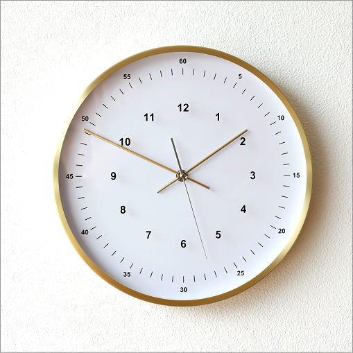 掛け時計 シンプル おしゃれ スイープムーブメント 音がしない 連続秒針 静音 丸 室 玄関 ウォールクロック VALUABLEゴールド