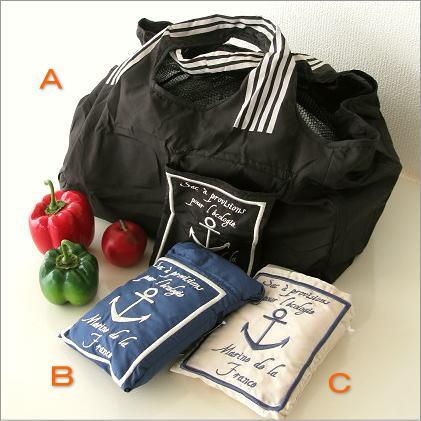 ショッピングバッグ お買い物かご お買い物バッグ 折りたたみ エコバッグ マイバッグ 軽量 ショッピングバッグ マリン3カラー