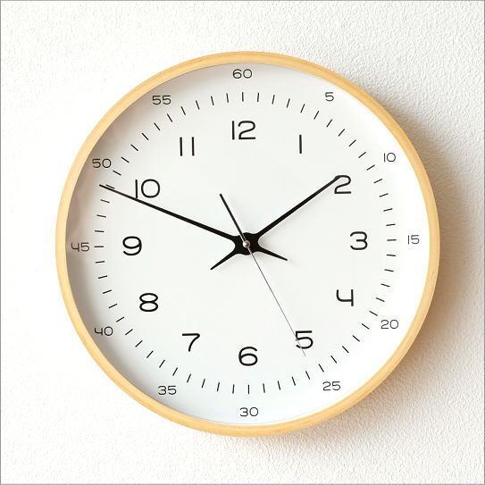 掛け時計 シンプル おしゃれ 木製 スイープムーブメント 音がしない 連続秒針 静音 寝室 玄関 ウォールクロック ナチュラルウッド