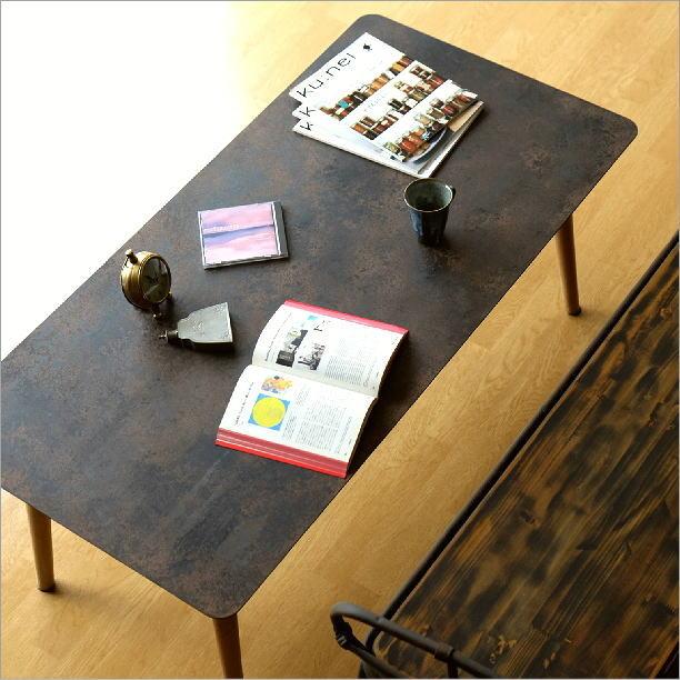 ローテーブル 鉄製 木製 アンティーク シンプル レトロ ソファテーブル リビングテーブル おしゃれ シャビーなアイアンとウッドのローテーブル 120【送料無料】