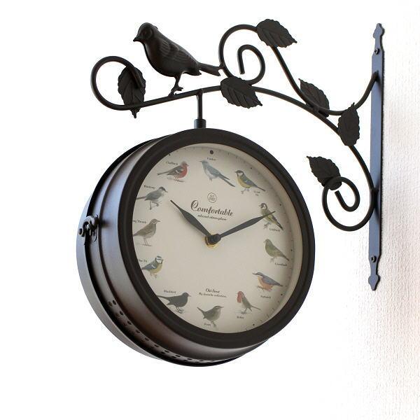 両面時計 おしゃれ 掛け時計 壁掛け時計 アンティーク レトロ クラシック ヨーロピアン 北欧 カフェ インテリア モダン ヨーロッパ 両面掛け時計 バード [spc3695]