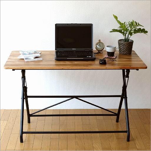 机 デスク テーブル 木製 おしゃれ シンプル 作業台 パソコンデスク アイアンとウッドの折りたたみテーブル L 【送料無料】 [spc3951]