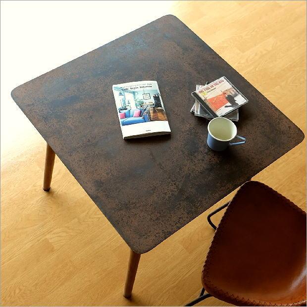 テーブル デスク 机 鉄製 木製 アンティーク シンプル レトロ ヴィンテージ 正方形 コーヒーテーブル おしゃれ シャビーなアイアンとウッドのテーブル 70【送料無料】
