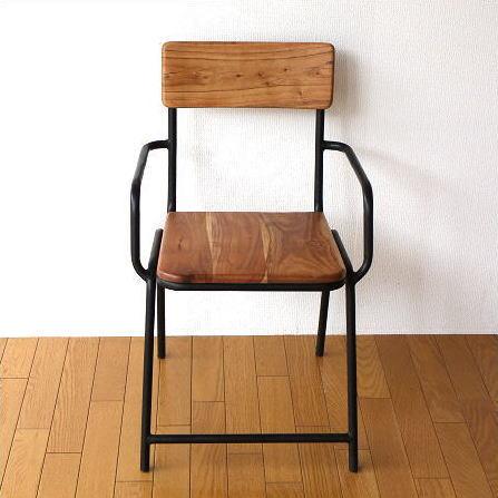 チェア 木製 椅子 いす ウッドチェア カフェチェア 一人掛け 一人用椅子 アイアンとウッドのチェアー 【送料無料】 [spc4020]